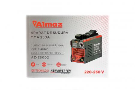 Invertor Almaz 250A AZ-ES002, Electrod 1.6-4mm, accesorii incluse + Sort din piele pentru protectie3