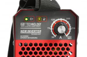 Aparat de Sudura, Invertor Almaz 250A AZ-ES002, Electrod 1.6-5mm, accesorii incluse + Manusi de protectie marime 1618