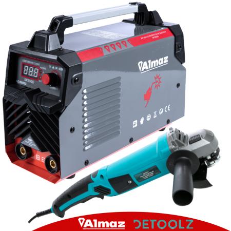 Invertor de sudura Almaz 300A, Profesional, AZ-ES012 + Polizor unghiular - 125mm - 1200W, 11000Rpm, DeToolz DZ-SE1140