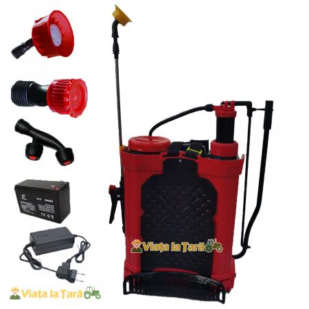 Pompa de stropit electrica si manuala ( 2 in 1 ) 16 Litri 6 Bar, regulator presiune, ELEFANT cu baterie acumulator si manuala3