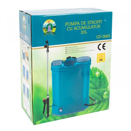Pompa de stropit electrica Pandora 20 Litri, 5 Bari + regulator presiune, vermorel cu baterie-acumulator8