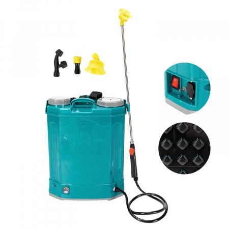 Pompa de stropit electrica Pandora 20 Litri, 5 Bari + regulator presiune, vermorel cu baterie-acumulator0