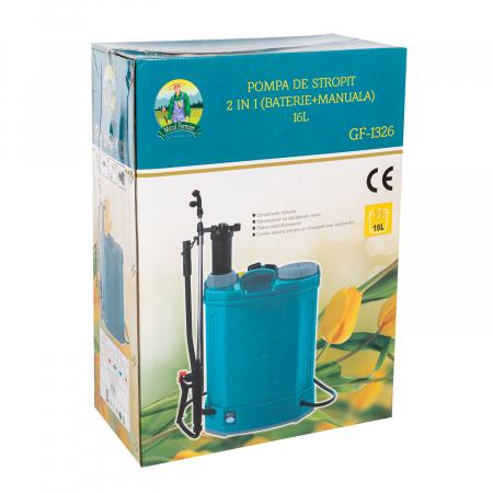 Pompa de stropit electrica si Manuala ( 2 in 1 ) 16 Litri 5 Bar, regulator presiune, Vermorel Pandora ( Herly ) cu baterie acumulator si manuala [14]