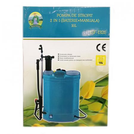 Pompa de stropit electrica si manuala ( 2 in 1 ) 16 Litri 5 Bari, Vermorel Pandora ( Herly ) cu baterie acumulator si manuala + Lance telescopica 3.3 m din inox [12]