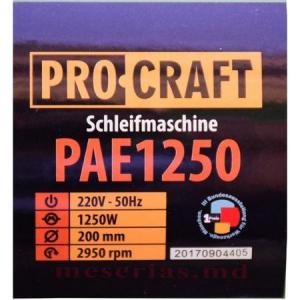 Polizor de banc + 2 Discuri granulatie diferita 1250W, 2950 Rpm, PROCRAFT PAE12502