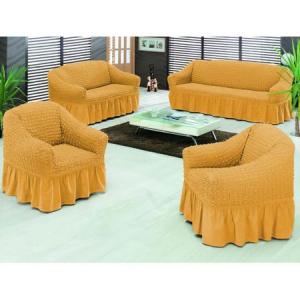 Set 3 huse pentru 1 canapea 3 locuri, 1 canapea 2 locuri si 1 fotoliu, culoare mustar deschis0