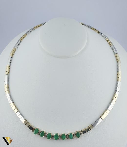 Colier Aur 14k, Diamante cca. 0.15 ct si Smaralde, 30.21 grame(P) [0]