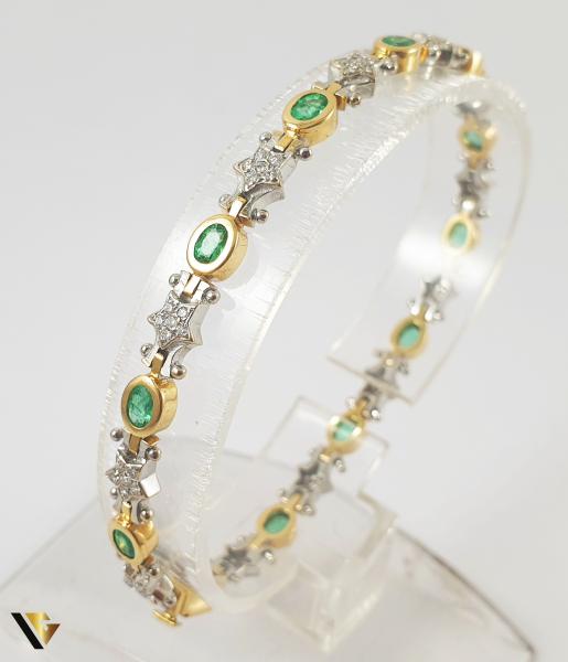 Bratara Aur 18k, Smaralde si diamante de cca. 0.30 ct in total, 16.58 grame 0