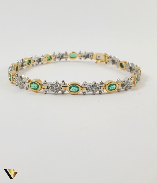 Bratara Aur 18k, Smaralde si diamante de cca. 0.30 ct in total, 16.58 grame 1