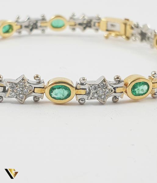 Bratara Aur 18k, Smaralde si diamante de cca. 0.30 ct in total, 16.58 grame 2