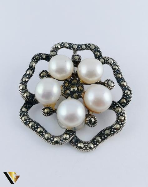 Pandantiv Argint 925, Perle si Marcasite, 8.90 grame [0]