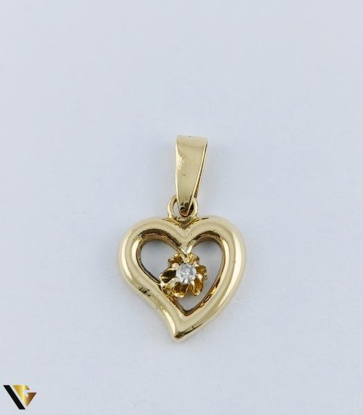 Pandantiv  Aur 18k, Diamant, Inima,  2.39 grame 1