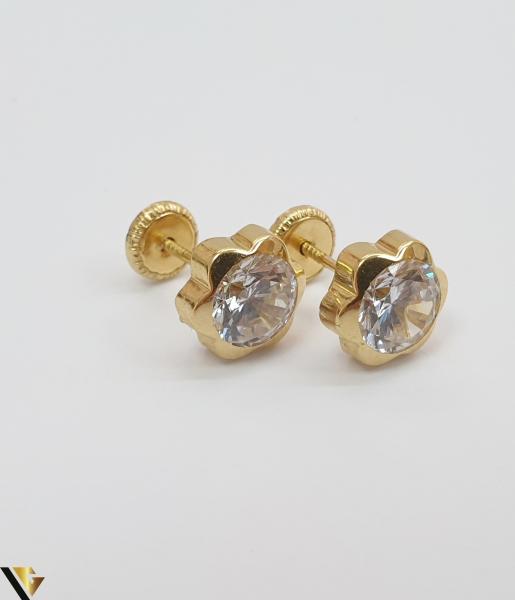 Cercei din aur  18k, 750 1.19grame Lungimea cerceilor 6mm Latimea cerceilor 6mm Locatie HARLAU Marcaj cu titlul 750 0