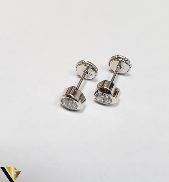 Cercei Aur 18K, Cristale din Zirconiu, 0.55 grame (IS) 0