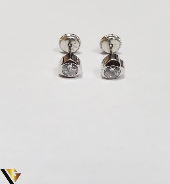 Cercei Aur 18K, Cristale din Zirconiu, 0.55 grame (IS) 1