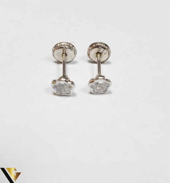 Cercei Aur 18K, Cristale din Zirconiu, 0.49 grame (IS) 1