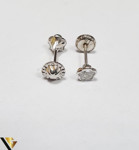 Cercei Aur 18K, Cristale din Zirconiu, 0.49 grame (IS) 2