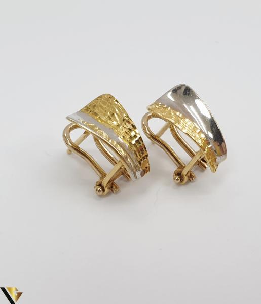 Cercei din aur  18k, 750 3.08 grame Lungimea cerceilor 13mm Latimea cerceilor 6mm Marcaj cu titlul 750 Locatia HARLAU 1
