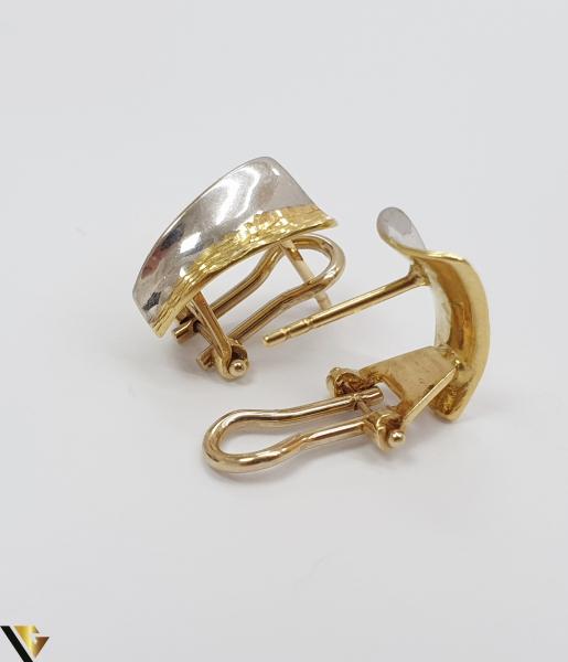 Cercei din aur  18k, 750 3.08 grame Lungimea cerceilor 13mm Latimea cerceilor 6mm Marcaj cu titlul 750 Locatia HARLAU 2