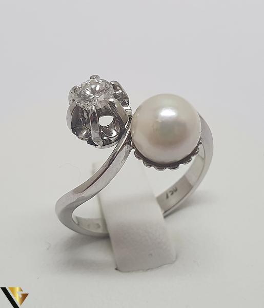 Inel Aur Alb 18k, Perla, Diamant cca. 0.25 ct, 4.18 grame (IS) 0