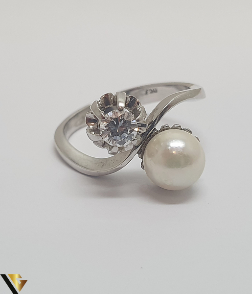 Inel Aur Alb 18k, Perla, Diamant cca. 0.25 ct, 4.18 grame (IS) 2