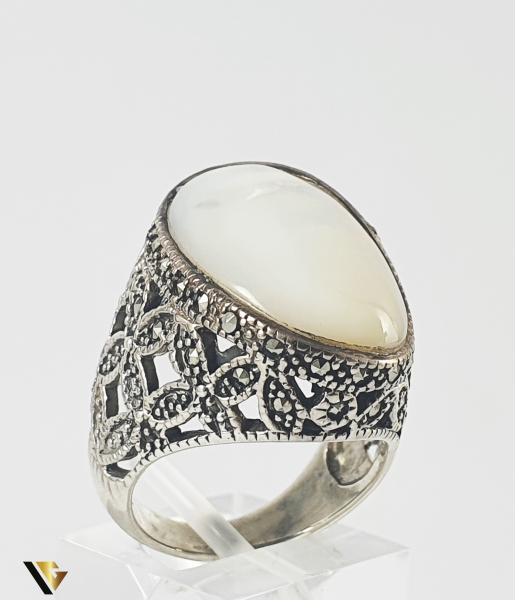 Inel Argint 925, Marcasite si Sidef, 14.11 grame (P) 0