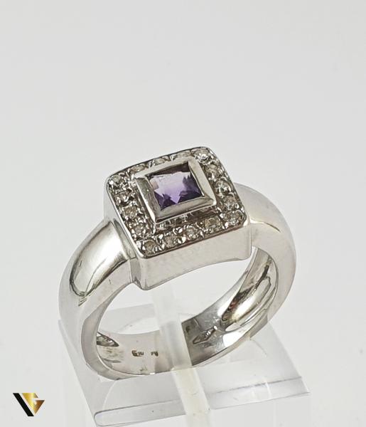 Inel Aur 18k, Ametist si Diamante, 7.50 grame , 220 LEI / GR 0