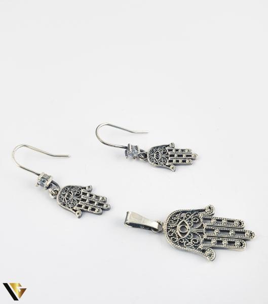 Set Cercei si Pandant din Argint 925, Simbolul Hamsa, 3.68 grame (R) [0]