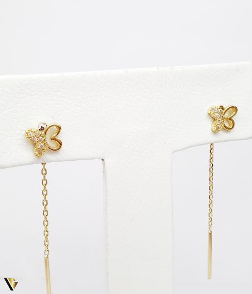 Cercei cu lant Aur 14K, Fluture , 1.76 grame (BC M) 1