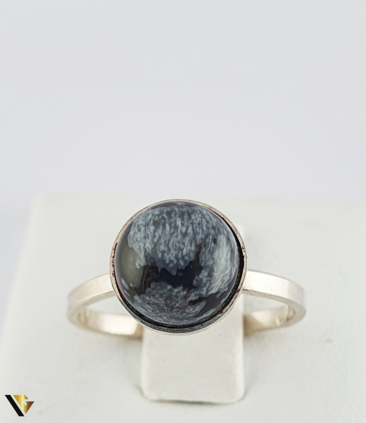 Inel din argint 830 1.79 grame Cabochon rotund, din obsidian fulg de zapada [1]