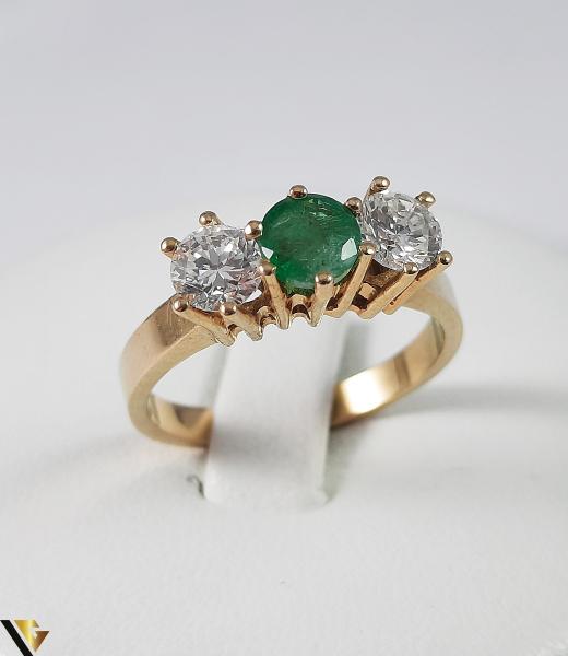 Inel Aur 18k, Diamante cca 0.70 ct, Smarald, 3.92 grame (S) 0
