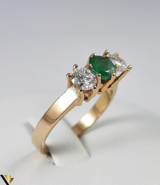 Inel Aur 18k, Diamante cca 0.70 ct, Smarald, 3.92 grame (S) 1