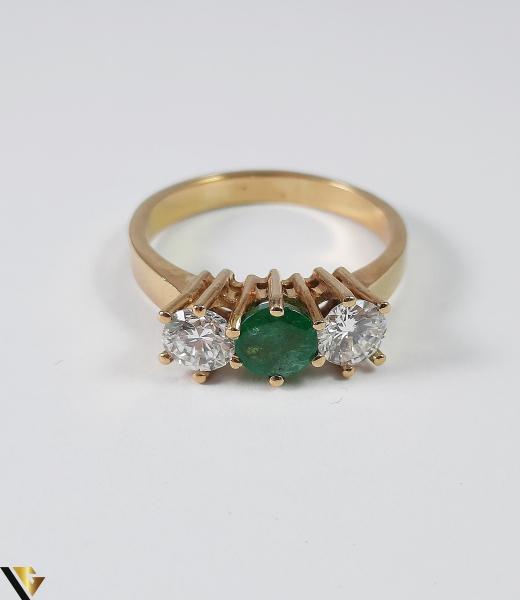 Inel Aur 18k, Diamante cca 0.70 ct, Smarald, 3.92 grame (S) 4