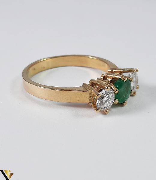Inel Aur 18k, Diamante cca 0.70 ct, Smarald, 3.92 grame (S) 3