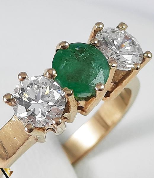Inel Aur 18k, Diamante cca 0.70 ct, Smarald, 3.92 grame (S) 2