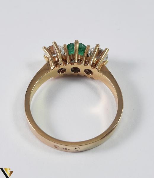 Inel Aur 18k, Diamante cca 0.70 ct, Smarald, 3.92 grame (S) 5