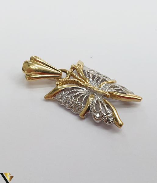 Pandantiv din aur 14k, 585 3.23grame Lungimea pandantivului cu anou este de 28.5 mm Latimea pandantivului este de 13.5mm Locatie HARLAU 2