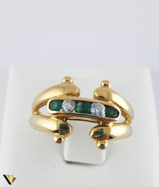 Inel din aur 18k, 750 3.53 grame 3 smaralde [1]