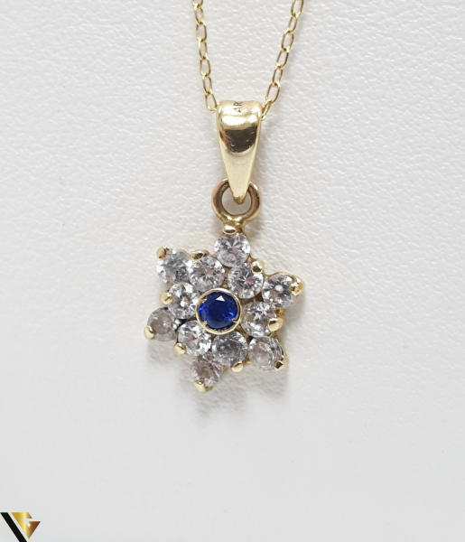 Pandantiv din aur 14k, 585 1.31grame Cristale de zirconiu Lungimea pandantivului cu anou este de 19 mm Latimea pandantivului este de 9mm Locatie HARLAU 0