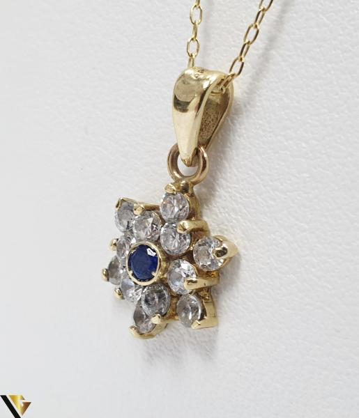 Pandantiv din aur 14k, 585 1.31grame Cristale de zirconiu Lungimea pandantivului cu anou este de 19 mm Latimea pandantivului este de 9mm Locatie HARLAU 1