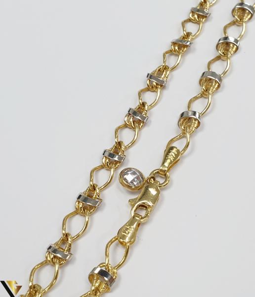 """Lant din aur 14k, 585 8.84 grame Lungime de 49cm Latime de 5 mm Marcaj cu titlul """"585"""" Locatie HARLAU [1]"""
