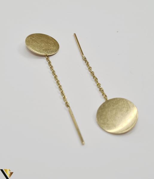 Cercei din aur  14k, 585 2.43grame Lungimea cerceilor 50mm Latimea cerceilor  13mm Marcaj cu titlul 585 Locatia HARLAU 0