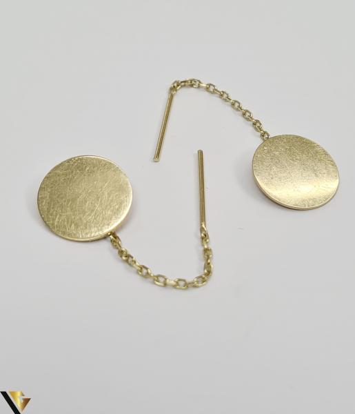 Cercei din aur  14k, 585 2.43grame Lungimea cerceilor 50mm Latimea cerceilor  13mm Marcaj cu titlul 585 Locatia HARLAU 1