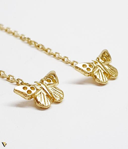 Cercei cu lant Aur 14K, Fluture, 1.60 grame (BC M) [0]