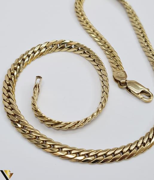 """Lant din aur alb 18k, 750 17.49 grame Lungime de 42 cm Latime de 5.3 mm Marcaj cu titlul """"750"""" Locatie HARLAU [1]"""
