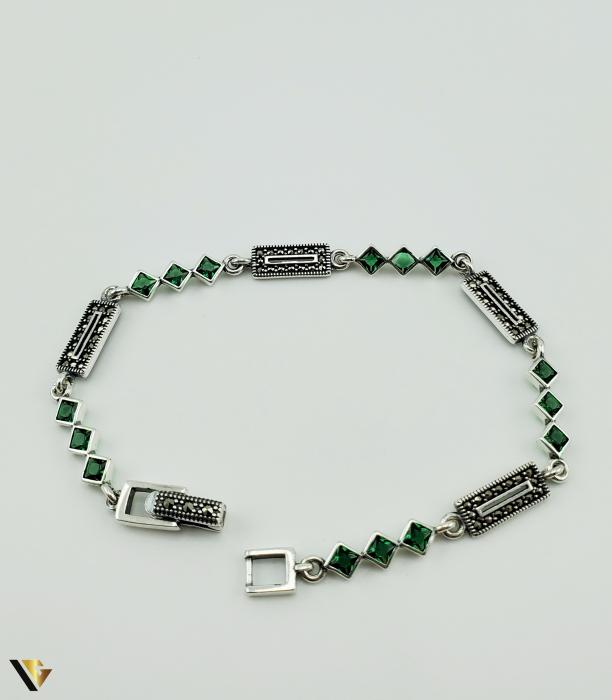 Bratara Argint 925, 7.74 grame (R) verde marcasite [2]