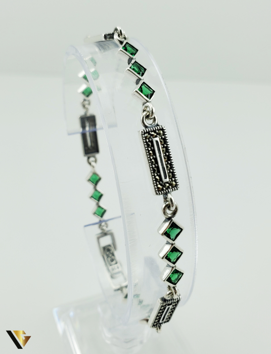 Bratara Argint 925, 7.74 grame (R) verde marcasite [3]