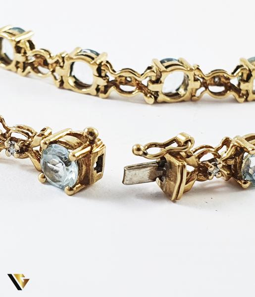 Bratara Aur 9k, Topaze si diamante de cca. 0.25 ct in total, [2]