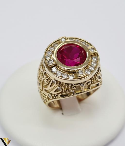 """Inel din aur 14k, 585 14.68 grame Latime inelului la partea superioara este de 26.5 mm Cristal central cu dimensiunile 9.5 mm /9.5 mm Diametrul inelului este de 21 mm Masura standard RO: 65 si UE: 25 Marcaj cu titlul """"585"""" Locatie Harlau 0"""