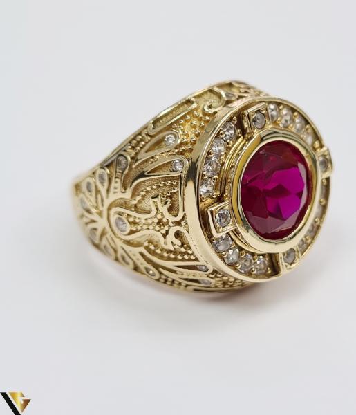 """Inel din aur 14k, 585 14.68 grame Latime inelului la partea superioara este de 26.5 mm Cristal central cu dimensiunile 9.5 mm /9.5 mm Diametrul inelului este de 21 mm Masura standard RO: 65 si UE: 25 Marcaj cu titlul """"585"""" Locatie Harlau 2"""